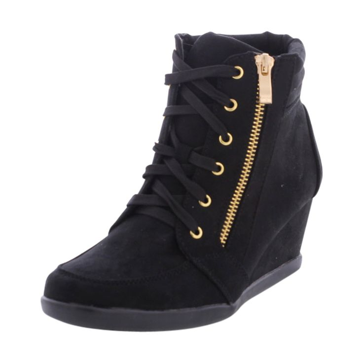 - Faux suede upper in black - Lace up with side zip up closure - Padded collar and tongue - Soft faux fur interior lining for comfort - Lightly cushioned and textured footbed provides all-day comfort