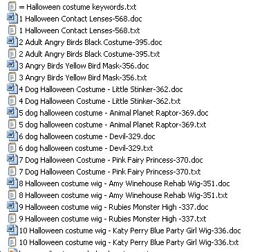 The Titles of the 10 Halloween costume PLR articles: These are for all the bloggers and webmasters who are marketing to their readers at this time of year.  Pack #1is an absolutely exclusive set of  10 x