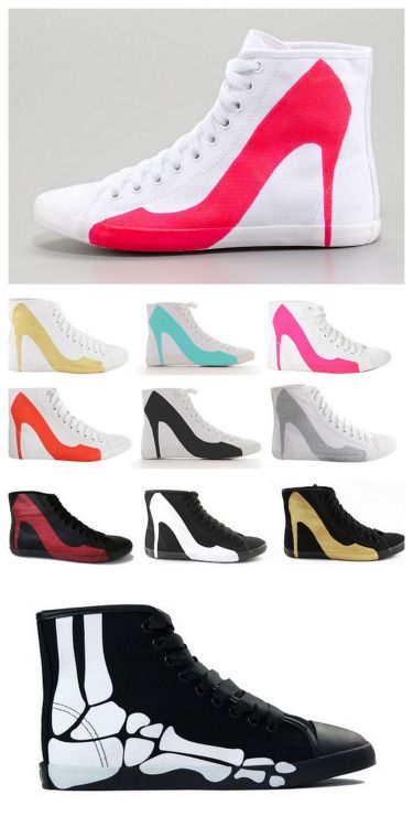 Buy or DIY: Be&D Big City Pump Silhouette Sneakers as seen on fashion blogs, celebrities and all over the internet. At the link you will see a large collection of these sneakers. DIY Your Own Pair: Use fabric paint on canvas high tops. The original sneake