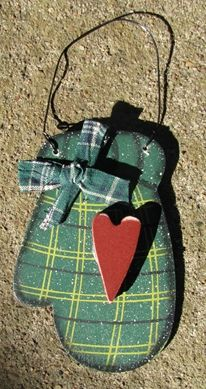 "Wooden Christmas Ornament  WD1187 - Green Mitten 4 1/2"" x 2 1/2"" $ 1.75"