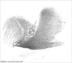 Gandalf y Gwaihir, según el artista canadiense John Howe