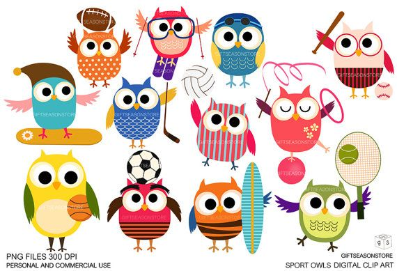 Sport owls Digital clip art for Personal and Commercial use - INSTANT DOWNLOAD via Etsy