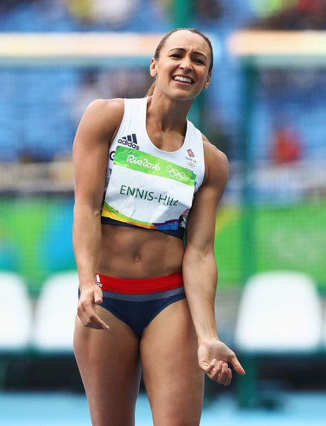 Jessica Ennis-Hill Photos Photos - Jessica Ennis-Hill of Great Britain reacts during the Women's Heptathlon High Jump on Day 7 of the Rio 2016 Olympic Games at the Olympic Stadium on August 12, 2016 in Rio de Janeiro, Brazil. - Athletics - Olympics: Day 7