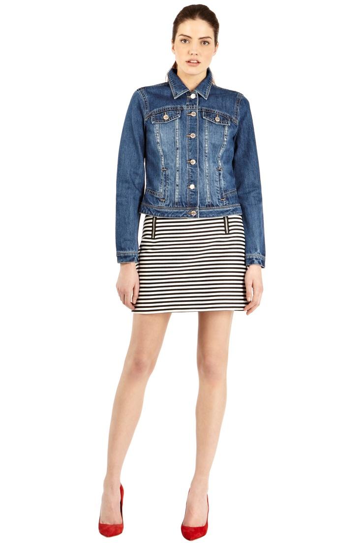 Warehouse Zip Detail Stripe Skirt