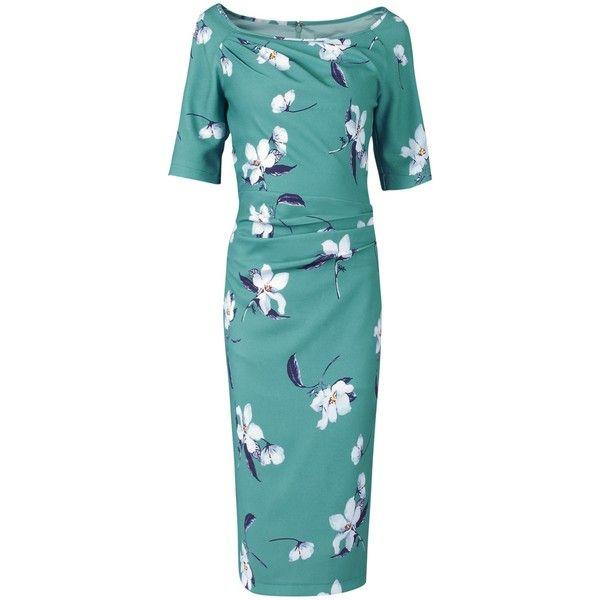 Jolie Moi Floral Print Half Sleeve Dress, Teal (3.880 RUB) ❤ liked on Polyvore featuring dresses, blue cocktail dresses, cocktail dresses, teal maxi dress, long-sleeve mini dress and blue maxi dress