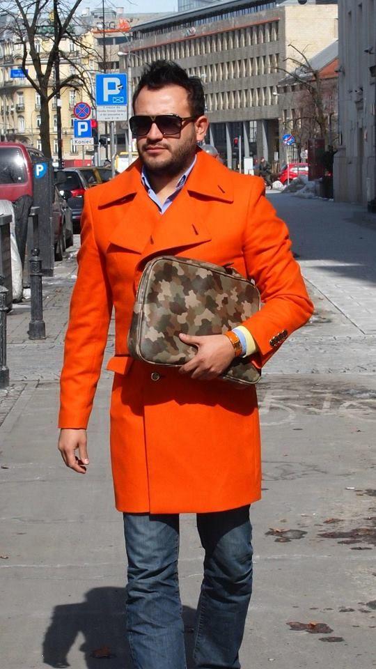 My De La Garza orange military 3/4 cashmere coat.