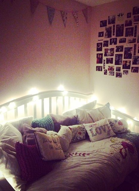 Cute Girl/teenage Bedroom. Fairy Lights, Bunting And Photos. Perfect  Cushions To