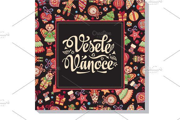 Vesele Vanoce. Christmas card. Czech by Zoya Miller on @creativemarket