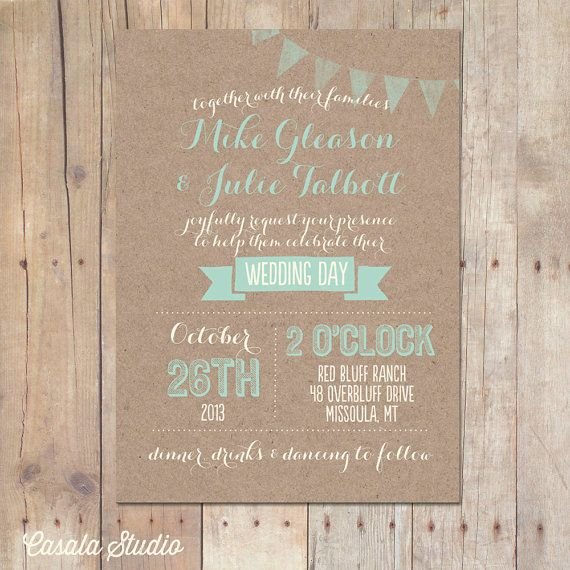 Hey, I found this really awesome Etsy listing at https://www.etsy.com/listing/160995171/rustic-kraft-wedding-invitation-mint