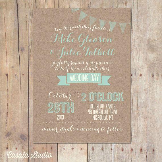Rustic Kraft Wedding Invitation Mint Peach Bridal Shower Printable or Professionally Printed Cards 5x7
