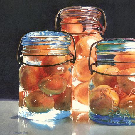 "James Koll ""Apricots and Old Jars"" Watercolour, 14""x14"" (Donated to Arts Umbrella) www.jameskoll.com"