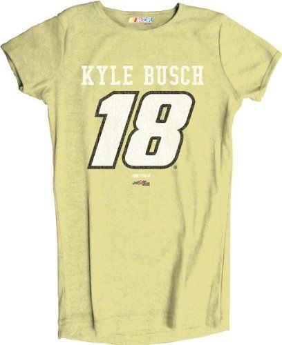 Kyle Busch Women's #18 Heathered Player T-Shirt by Checkered Flag. $21.99. Make a bold statement and proclaim your love for your favorite racecar driver with this Kyle Busch Women's #18 Heathered Player T-Shirt! Stylish NASCAR t-shirt for women features a slim cut and screen print graphics, making it a must-have piece of NASCAR apparel for racing fans.