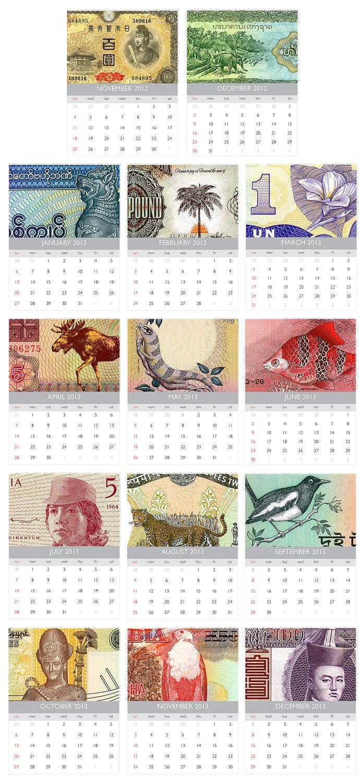 World Banknotes 2013 Printable Wall Calendar PDF | etsy