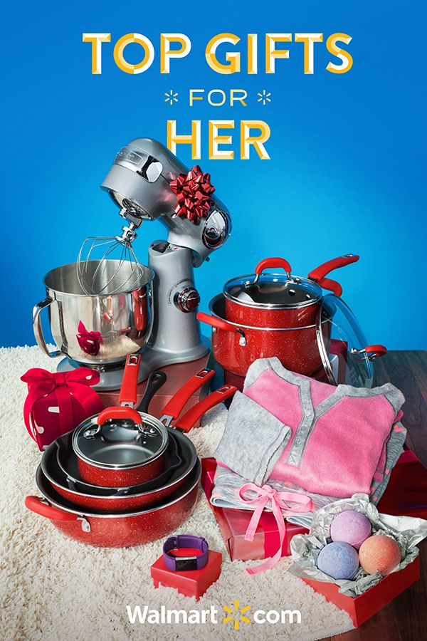 Treat her to something special this season with thoughtful holiday gift ideas from Walmart. From must-have gadgets to kitchen gifts for all the foodies in your life-you'll find amazing gifts she's guaranteed to love. Shop today.  Top Gifts for Her include: Cuisinart Stand Mixer, Secret Treasures Sleepwear, Pioneer Woman 10 Piece Cookware Set, Fitbit Charge 2 and Bath Bombs 9 Piece Gift Set