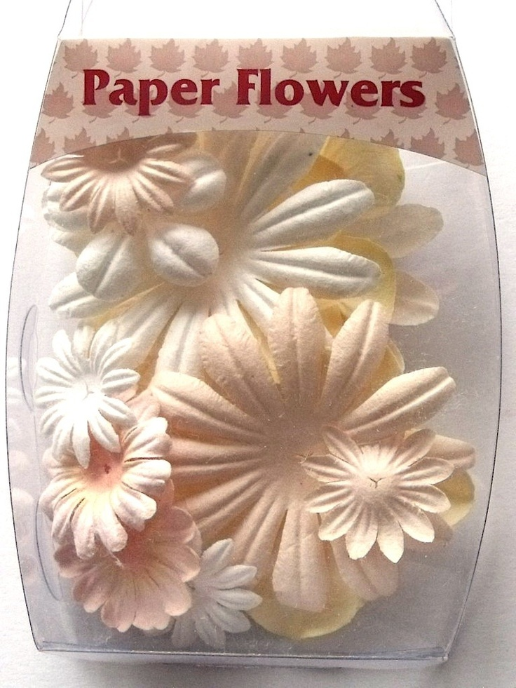 WOODWARE PAPER FLOWERS - BRIDAL      Beautiful pack of Bridal coloured co-ordinated paper flowers in assorted sizes and shades to decorate your creations APPROX 14 FLOWERS.