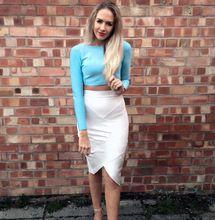 Sky Blue 2 Stücke Set Berühmtheit Langarm Bandage Kleid Fashion Cocktail Bodycon Kleid //Price: $US $52.00 & FREE Shipping //     #abendkleider