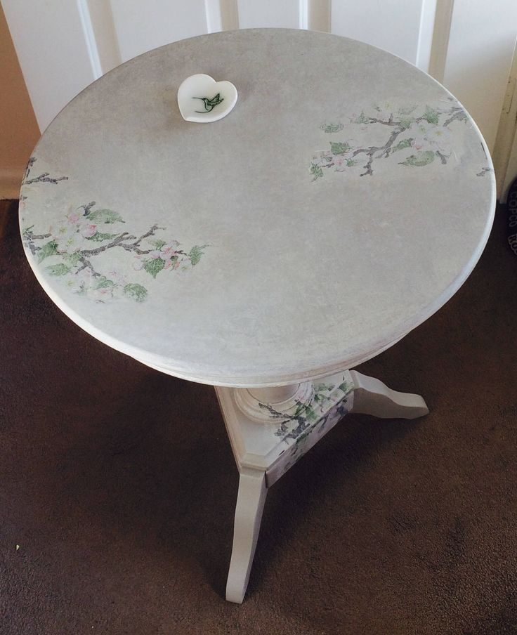 Stunning hand painted fine furniture occasional side table. One-off. Decoupaged with apple blossom. by RosiefloStudio on Etsy https://www.etsy.com/uk/listing/517786610/stunning-hand-painted-fine-furniture
