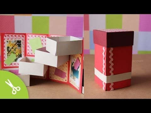 Caja con cajones: Guarda regalo - Dia de los enamorados // Origami box Tower - YouTube