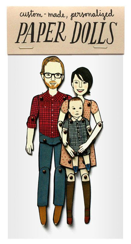 LOVE! Custom illustrated articulated paper dolls of your family by Jordan Grace Owens