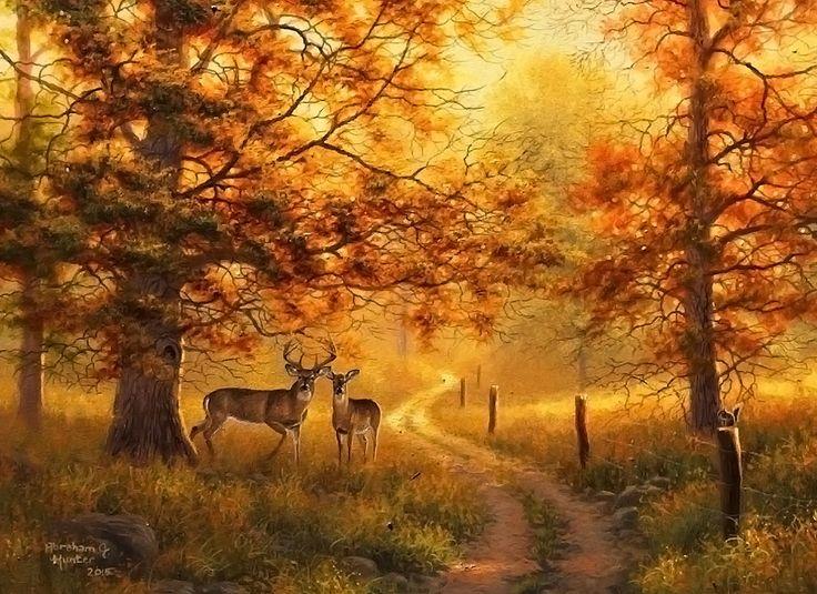 Fall Deer Wallpaper Abraham Hunter Art Country Living Country Life
