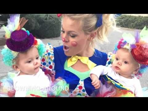 Twin girls Halloween costumes. DIY baby clowns. Cute costume idea newborn girl easy to make.