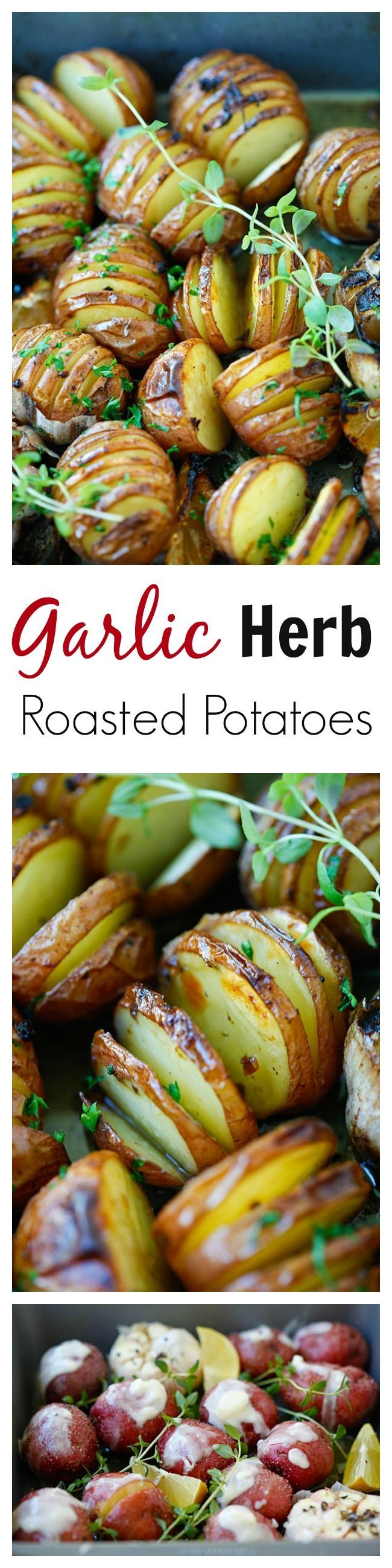 Garlic Herb Roasted Potatoes – the easiest and delicious roasted potatoes with olive oil, butter, garlic, herb and lemon!!