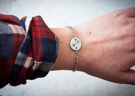 Bracelet with small disc and symbol / custom by SilviaWithLove