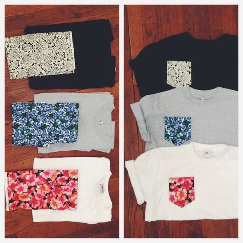 Simple fun - DIY printed pocket T's. such a good idea, need a sewing Machine.