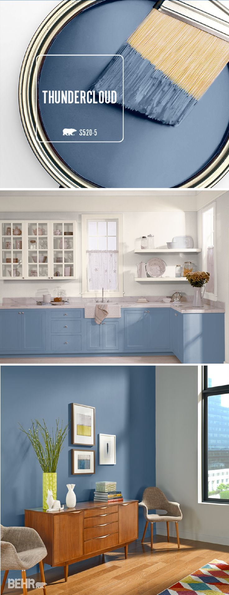 Add sophistication to your home by incorporating Thundercloud into your bedroom, kitchen, or entryway. This deep blue BEHR Paint color will look great on an accent wall or kitchen cabinets for a pop of color! #TrueToHue