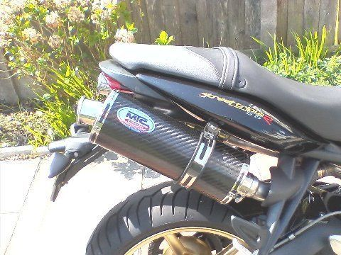 Triumph 675 STREET TRIPLE Carbon Oval single Outlet ROAD LEGAL MTC Exhausts #MaxTorqueCans
