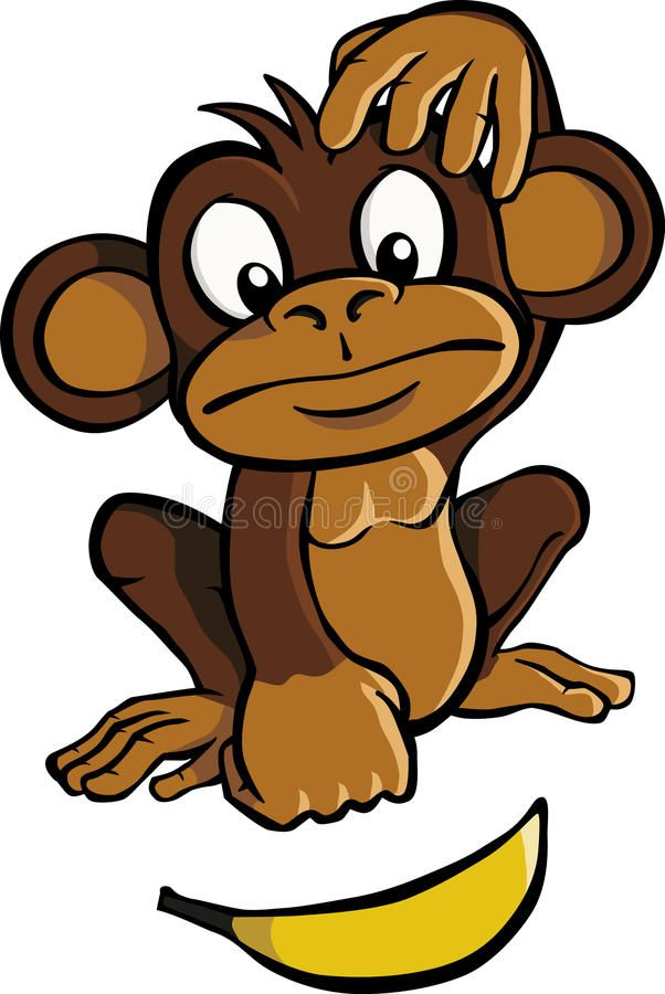 Cartoon Monkey With Banana A Cartoon Monkey Looking At A Banana And Scratching Ad Banana Monkey Cartoon Hea Cartoon Monkey Cute Monkey Cartoon Pics