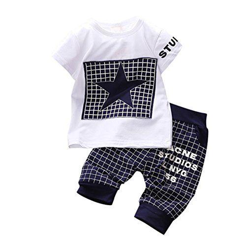 BOBORA Ensemble Bébé Garçon Étoiles Estampes T-shirt  Pantalons (XS(0-6Mois) Bleu foncé)
