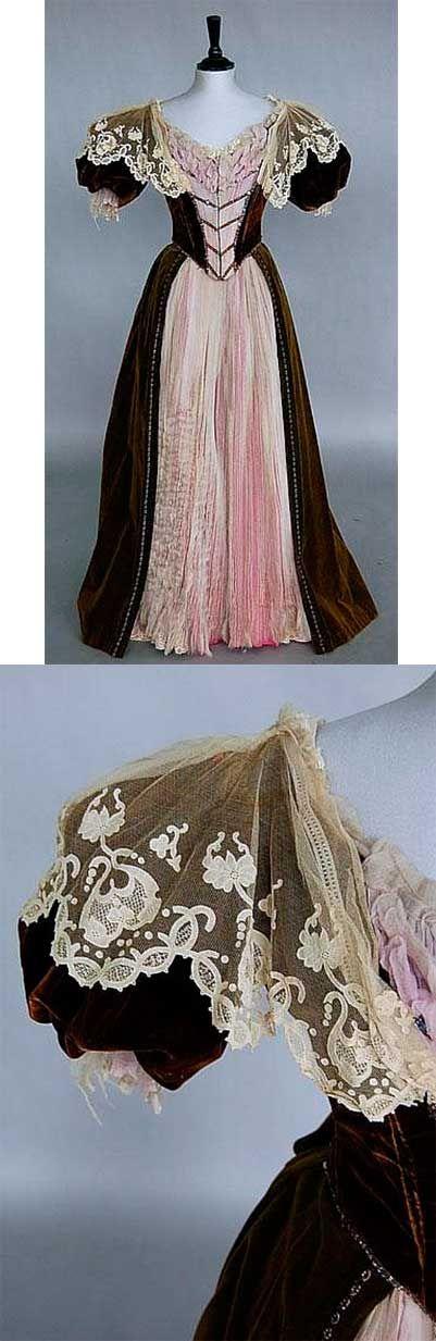 Brown velvet over pink silk, 1890-1900. Kerry Taylor Auctions #dress #gown #victorian #vintage #vintagefashion