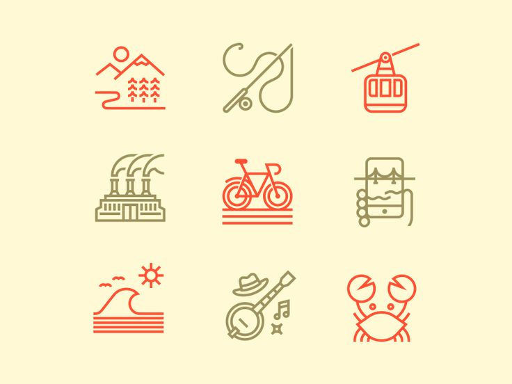 """A few spot illustrations I made for Men's Journal. The illustrations depict different topics covered in a story called """"Perfect Cities"""". From left to right: Bend, Bozeman, Roaring Fork, Cleveland &..."""
