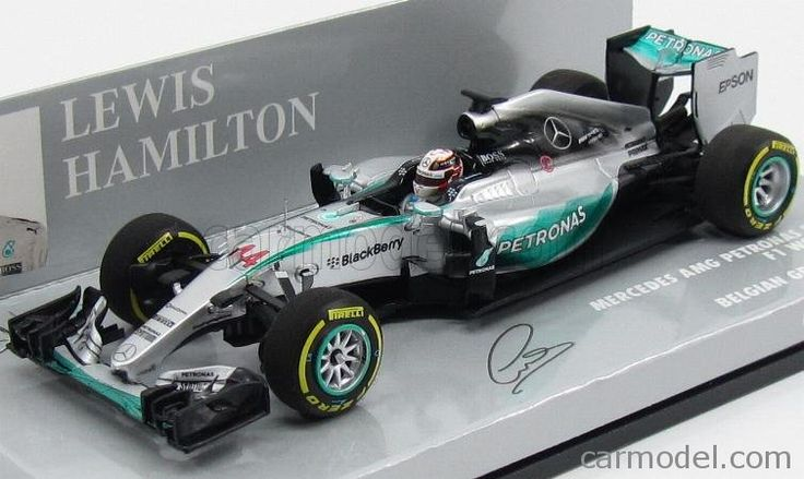 MINICHAMPS 417150244 Scale 1/43  MERCEDES GP F1  W06 AMG PETRONAS HYBRID N 44 WINNER BELGIUM GP LEWIS HAMILTON 2015 WORLD CHAMPION SILVER GREEN BLACK