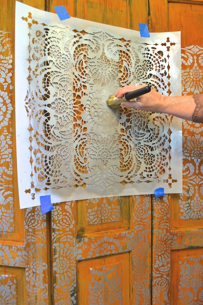 Stenciling with Modern Masters Metallic Paint Collection   Royal Design Studio Stencil   DIY Folding Screen Project Tutorial on the Modern Masters Cafe Blog