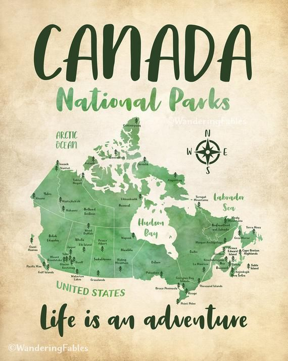 Canada National Parks On A Map Poster Artwork Rustic Green Etsy Canada National Parks National Parks Map Poster
