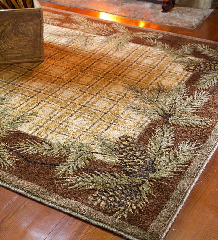Woolrich Pine Cone and Plaid Rug 208