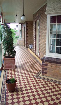 Red and Cognac Ennerdale floor tiles bringing a bit of colour whilst nicely tying in with the brickwork.