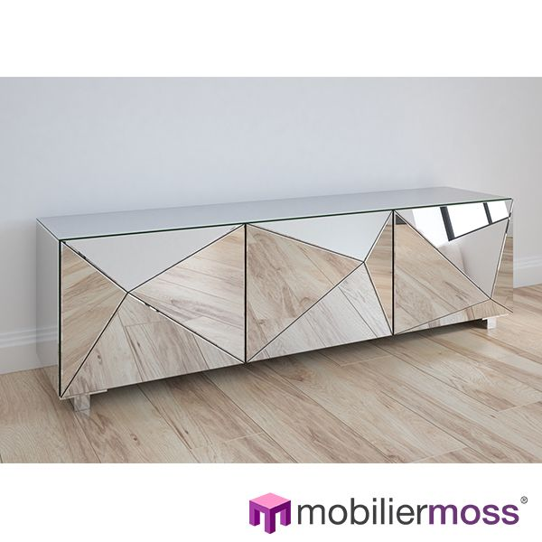 Meuble Tv Miroir 3 Portes Design Kirby Meuble Miroir Mobilier Geometrique Meuble Tv