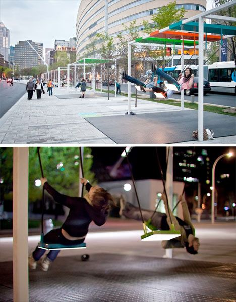 The City is a Playground with these Musical Light Swings on the Streets of Montreal. These colorful illuminated swings produce various prerecorded musical notes when in movement.