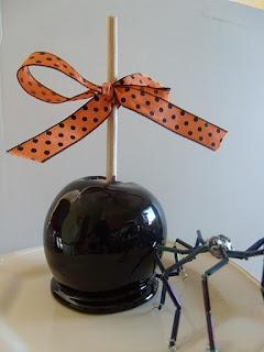 Black candied apples for Halloween.