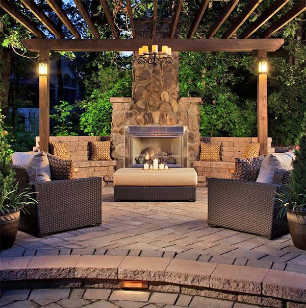 An outdoor fireplace design on your deck, patio or backyard living room instantly makes a perfect place for entertaining, creating a dramatic focal point.