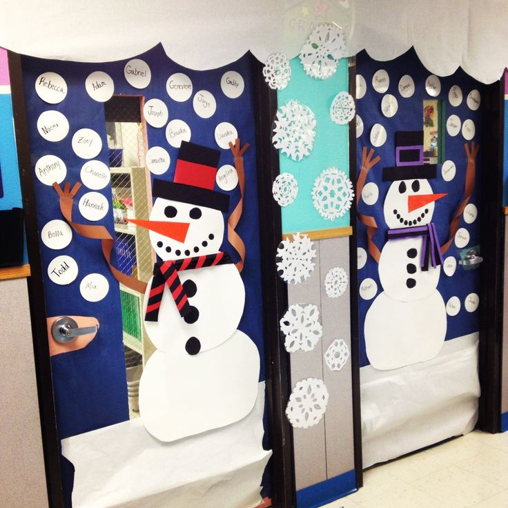 Snowman classroom door decor for winter!