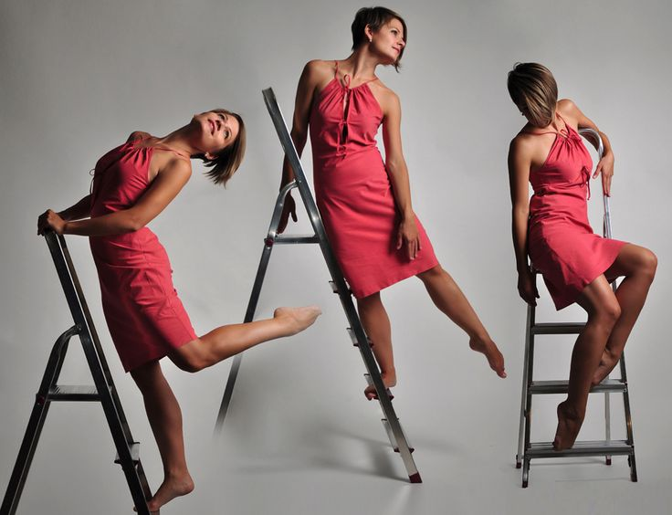 dancing poses on ladder - young lady