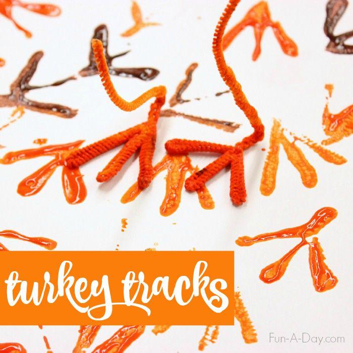Turkey Tracks! Turkey Art for Kids - Fun-A-Day! Easy!