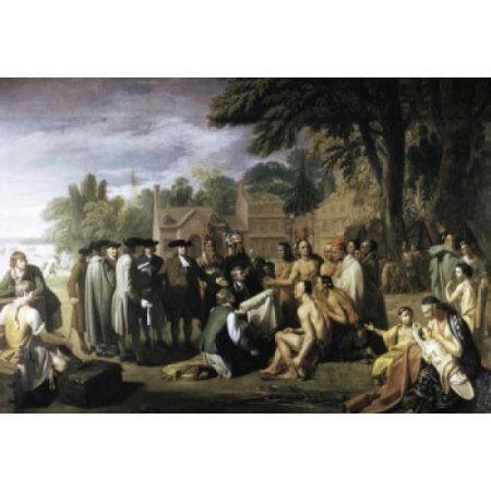 Penns Treaty with the Indians Benjamin West (1738-1820 American) Canvas Art - Benjamin West (24 x 36)