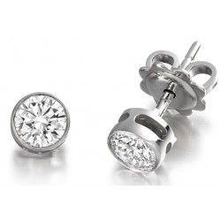 Cercei Tip Stud Aur Alb 18kt cu Diamant Rotund Briliant in Setare Rub-Over - RDE014W
