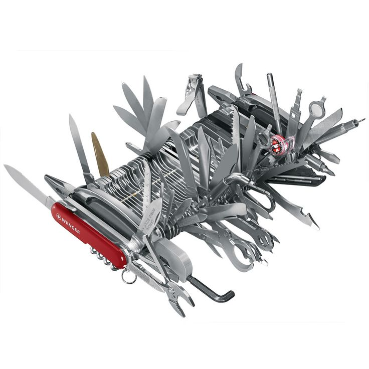 "The Only Complete Swiss Army Knife - Hammacher Schlemmer - Holder of the Guinness World Record for ""The Most Multifunctional Penknife,"" with 87 precision-engineered tools spanning 112 functions."