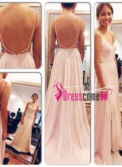 Backless prom dress,V-Neck prom dress,Simple Evening Dresses,Long Prom Dresses, Formal Dresses,